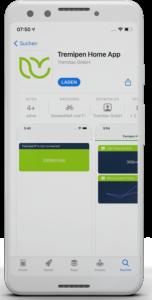 3D Smartphone weiß - Front Ansicht - Zu sehen ist der App Store mit der Tremipen Home App
