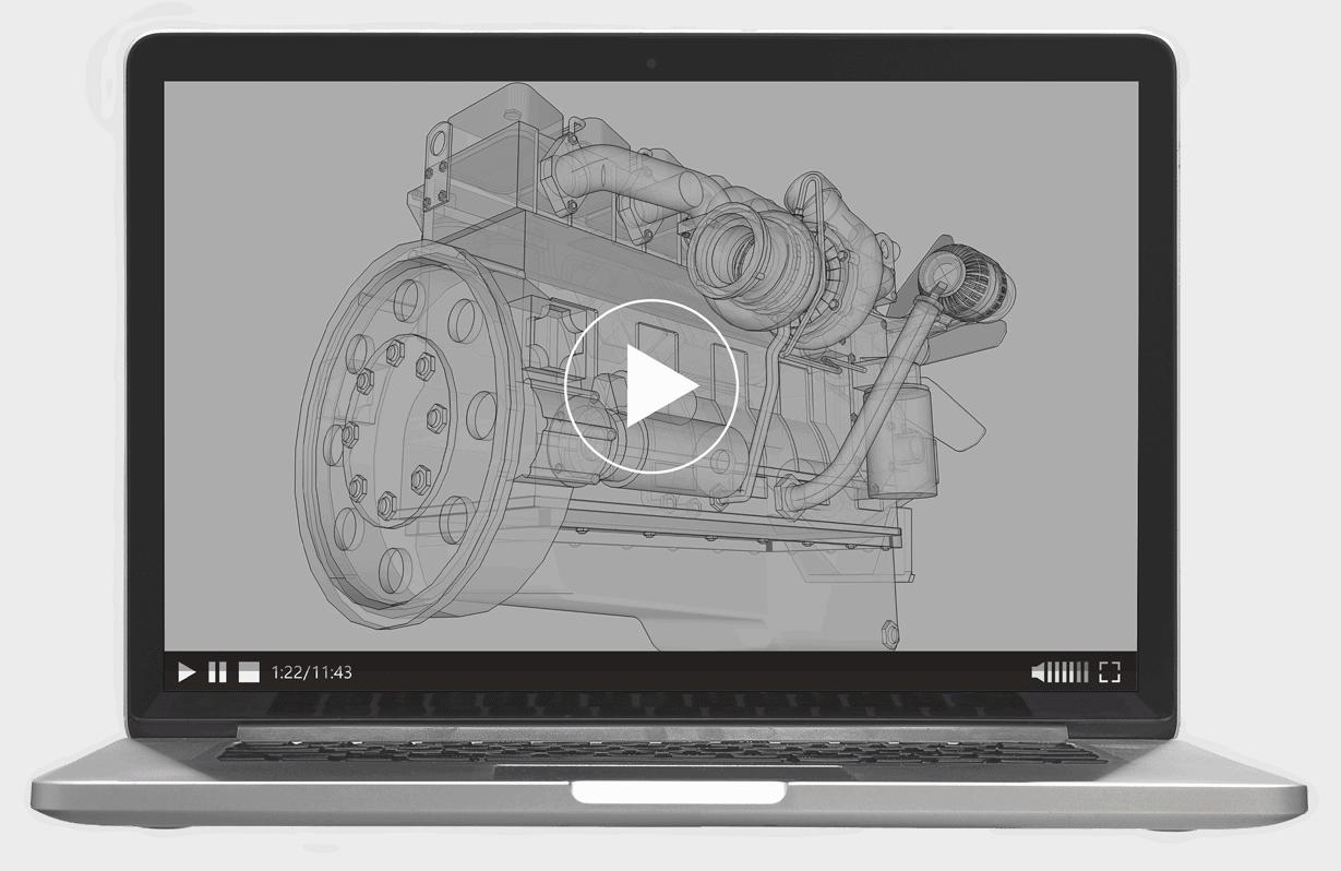 Schulungsvideo MockUp_Laptop Frontseite, Handgezeichnete Illustration eines Motors, darüber liegt eine schwarze transparente Fläche, am unteren Ende des Laptopbildschirmes sieht man Video-Kontroll-Elemente, in der Mitte des Bildschirmes sieht man in weiß den Playerknopf