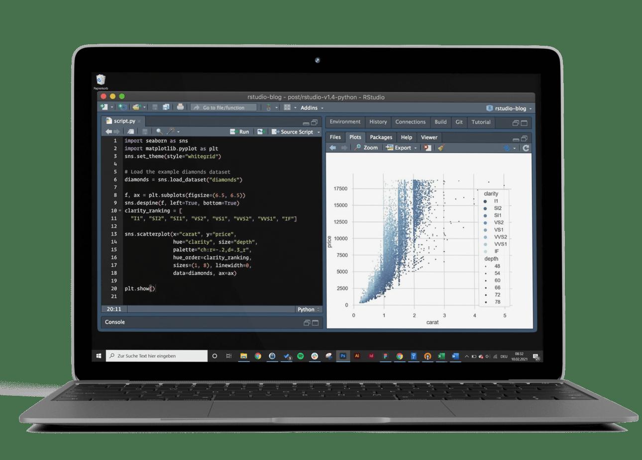 Abbildung eines Laptop_Front Ansicht_ohne Hintergrund_Windows Leiste unten im Bild, in der Mitte sieht man ein Programm für Data Science, dieses liegt auf schwarzem Hintergrund